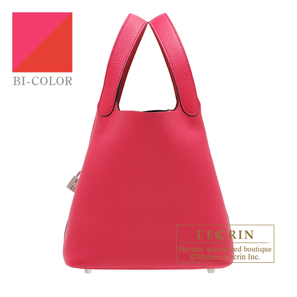 Hermes Picotin Lock Eclat bag MM Rose mexico/ Rouge coeur Clemence leather/Swift leather Silver hardware