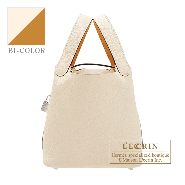 Picotin Lock Eclat bag PM Nata/Sesame Clemence leather/Swift leather Silver hardware