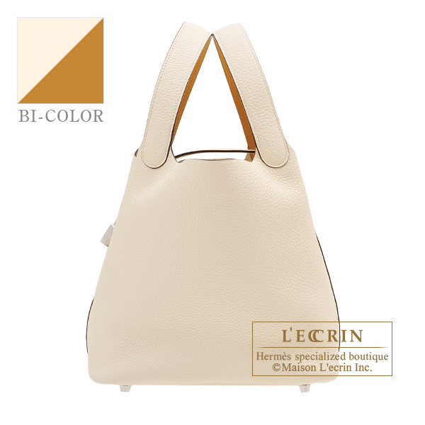 Picotin Lock Eclat bag MM Nata/Sesame Clemence leather/Swift leather Silver hardware