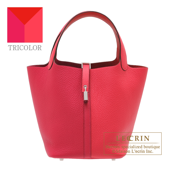 Hermes Picotin Lock casaque 2 bag MM Rose extreme/ Rose mexico/ Rouge coeur Clemence leather Silver hardware
