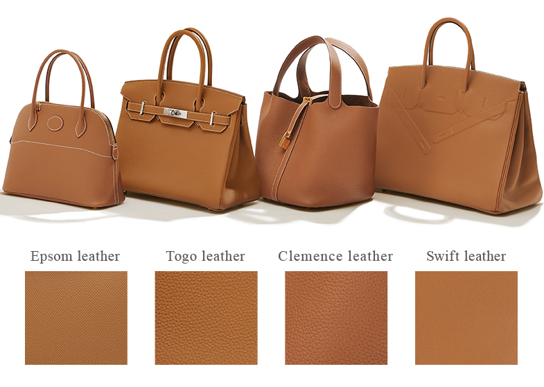 Gold hardware that changes the impression together with the leather material.