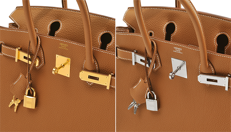 The color of the metal hardware affects the overall impression of the bag.